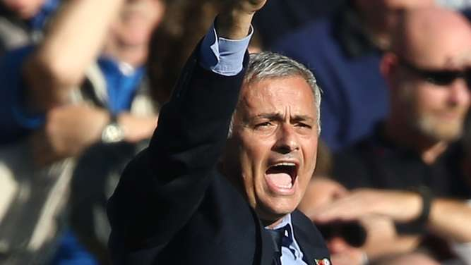 TOPSHOTSChelsea&#39s Portuguese manager Jose Mourinho reacts during the English Premier League football match between Chelsea and Liverpool at Stamford Bridge in London on October 31, 2015. AFP PHOTO / JUSTIN TALLISRESTRICTED TO EDITORIAL USE. No use with unauthorized audio, video, data, fixture lists, club/league logos or &#39live&#39 services. Online in-match use limited to 75 images, no video emulation. No use in betting, games or single club/league/player publications.