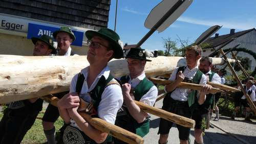 Traditionelles Maibaumaufstellen in Erlstätt